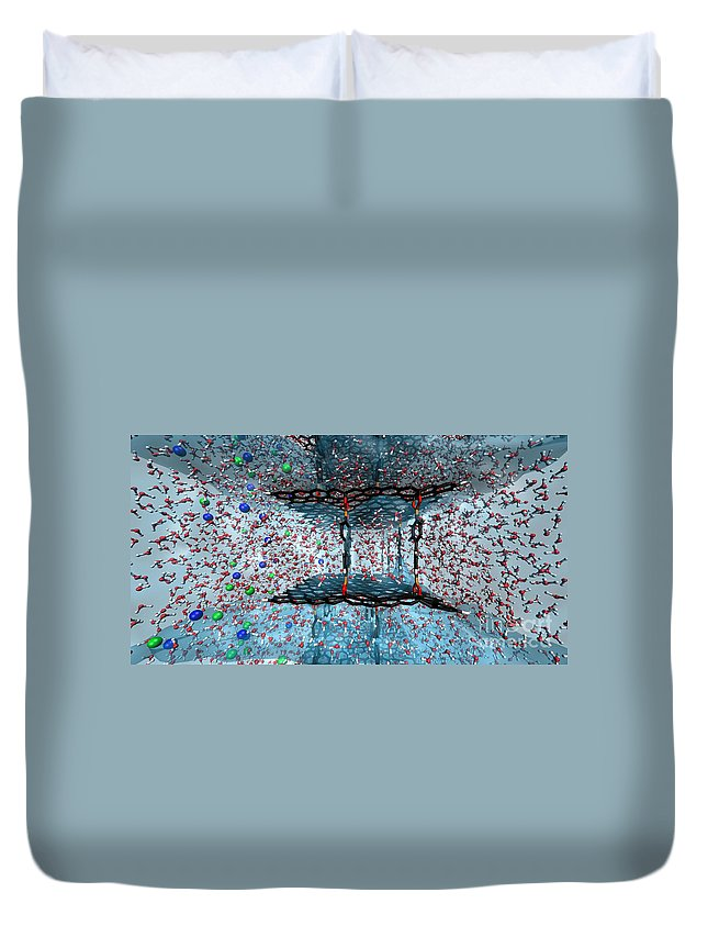Science Duvet Cover featuring the photograph Graphene Oxide Nanotech Framework by Science Source