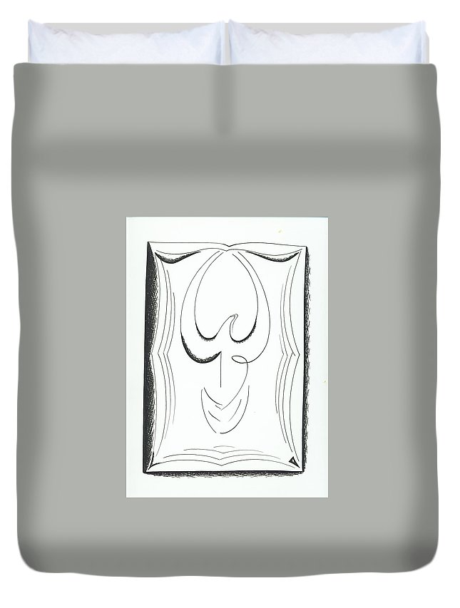 Graphics Duvet Cover featuring the drawing Graphiks by Ira Mizkevish