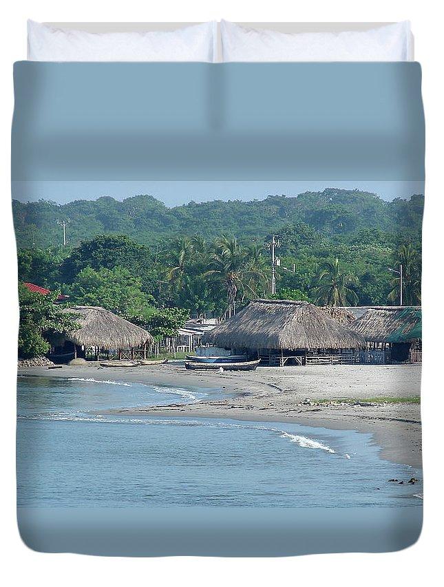 Grass Duvet Cover featuring the photograph Grass Huts Colombia by Brett Winn