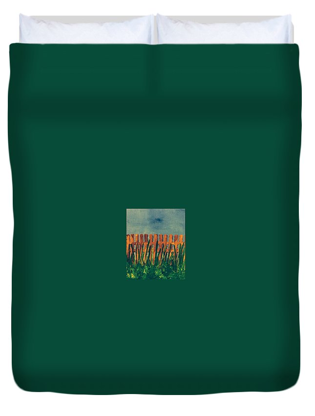 fence Duvet Cover featuring the painting Grass Is Greener On The Other Side by Jennifer L Johnson
