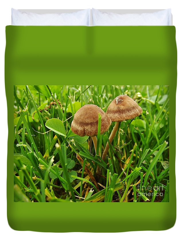 Macrophotography Duvet Cover featuring the photograph Grass Mushroom Pair      Tubaria Fungii      May      Indiana by Rory Cubel