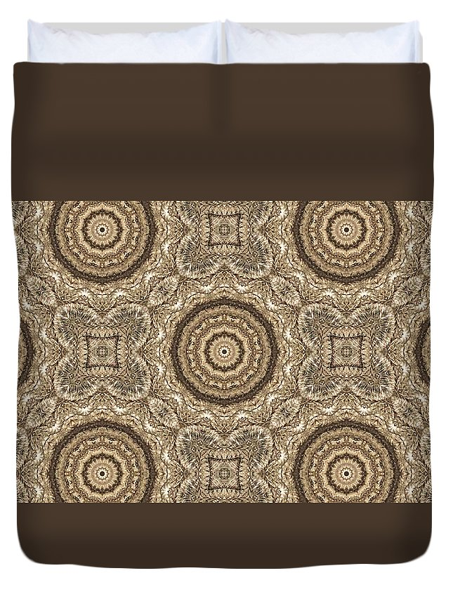 Kaleidoscope Duvet Cover featuring the photograph Grass Seed Crocheted Doily by M E Cieplinski