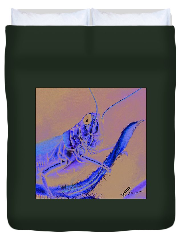 Grasshopper Duvet Cover featuring the painting Grasshopper by Cindy D Chinn
