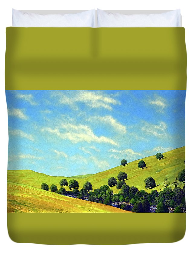 Wilderness Duvet Cover featuring the painting Grassy Hills At Meadow Creek by Frank Wilson