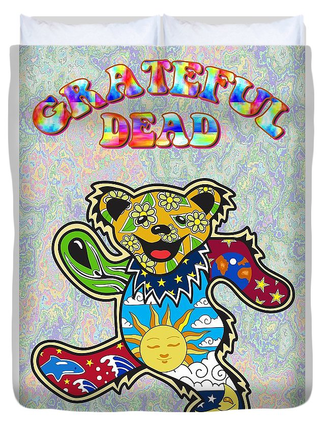 Grateful Dead Duvet Cover featuring the digital art Grateful Dead by Troy Arthur Graphics