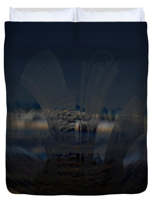 City Skyscape Land Scape Buildings Spinning Weird World Sky Mountains Duvet Cover featuring the photograph Gravitational Pull by Andrea Lawrence