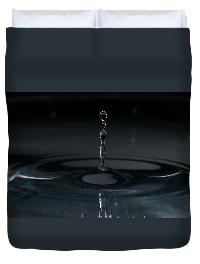 Macro Duvet Cover featuring the photograph Gravity Drop by Matt Hicks