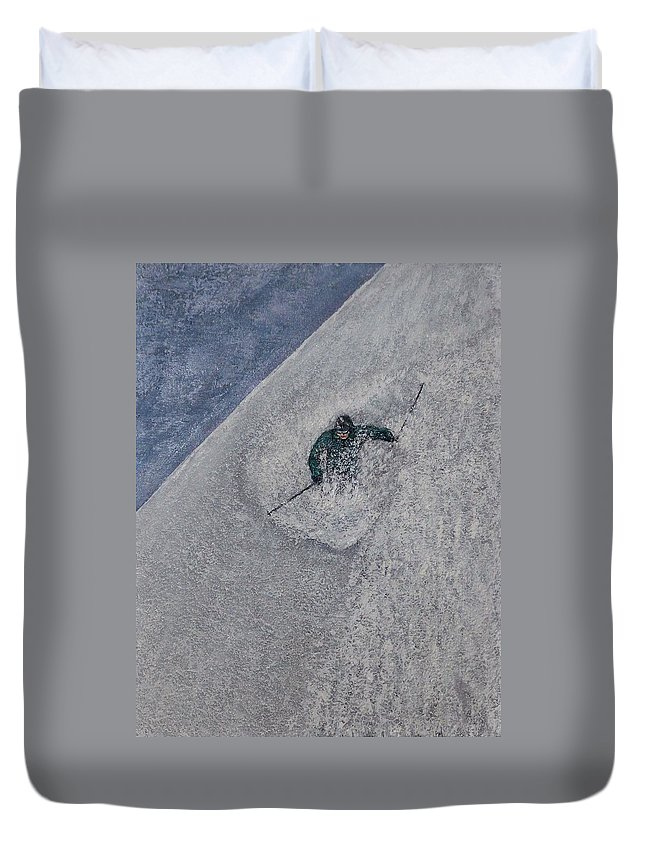 Ski Duvet Cover featuring the painting Gravity by Michael Cuozzo