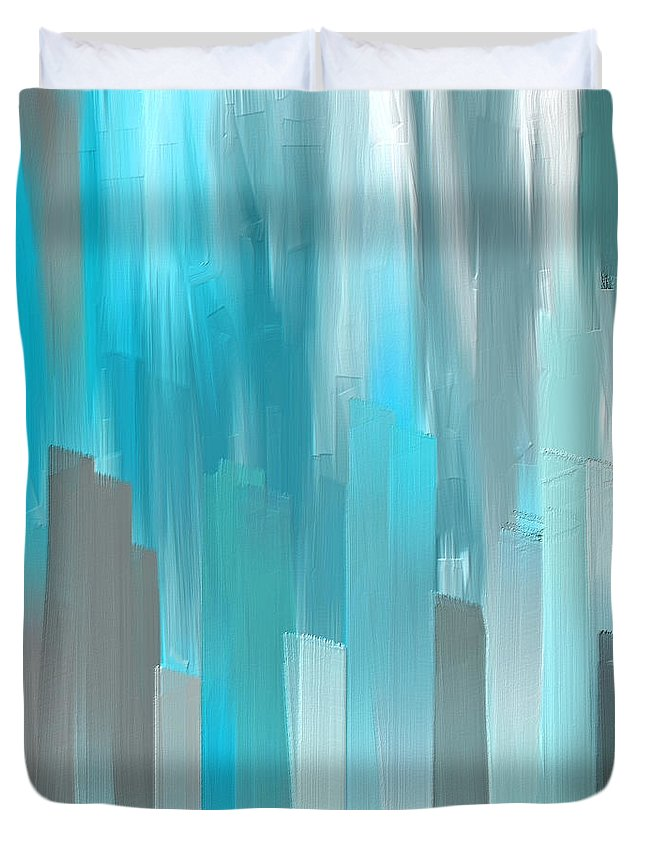 44d14dceb5d Blue Duvet Cover featuring the painting Gray And Teal Abstract Art by Lourry  Legarde