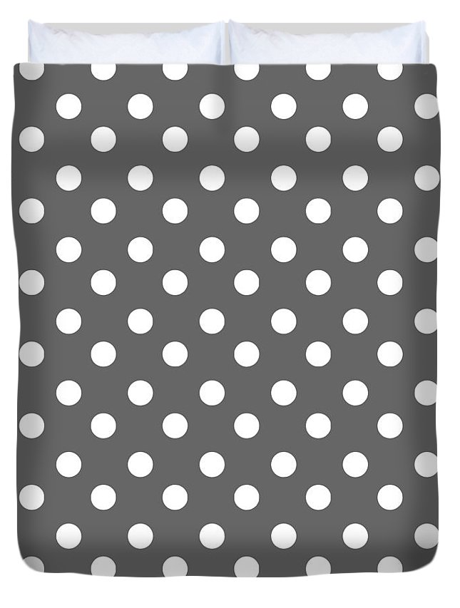 Polka Dots Duvet Cover featuring the tapestry - textile Gray And White Polka Dots by Bimbys Collections