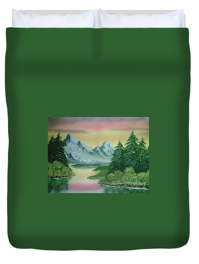 Bright Sky Duvet Cover featuring the painting Gray Mountains by Jim Saltis