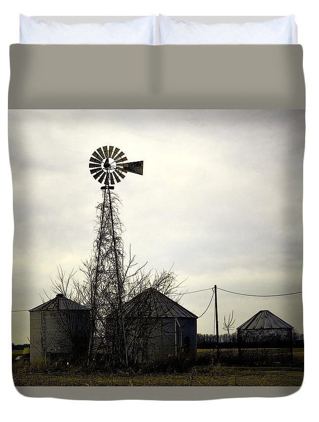 Windmill Duvet Cover featuring the photograph Gray Windmill by Bonfire Photography
