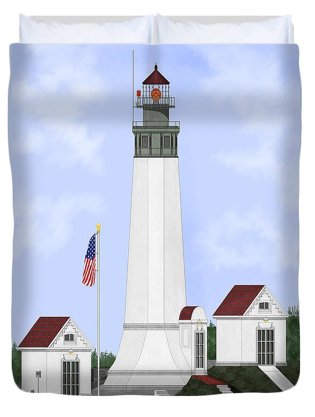 Lighthouse Duvet Cover featuring the painting Grays Harbor Light Station Historic View by Anne Norskog