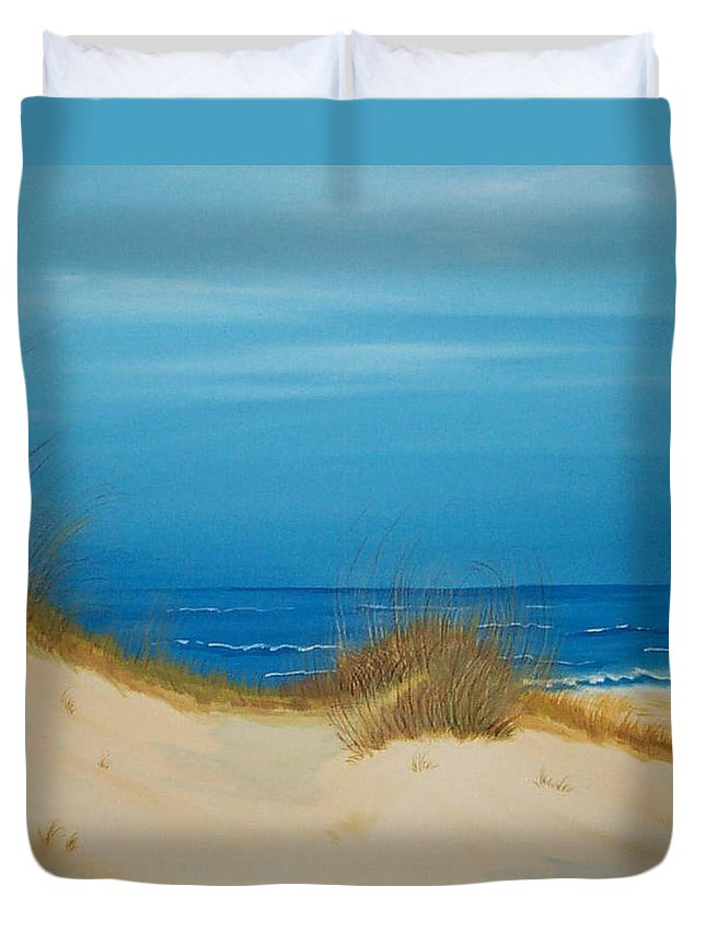 Beach Duvet Cover featuring the painting Grayton Beach Dunes by Nancy Nuce
