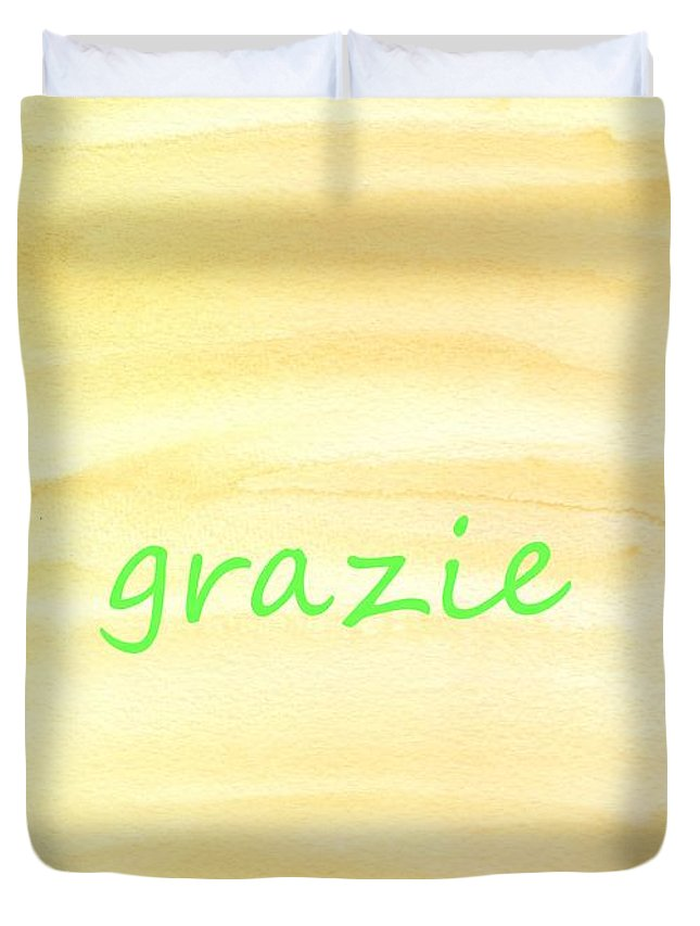 Yellow Duvet Cover featuring the painting Grazie 6 by Valourine Grace Artwork