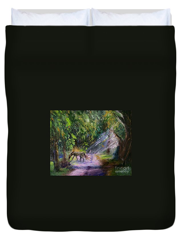 Landscape Duvet Cover featuring the painting Grazin' In The Grass by Stephen King