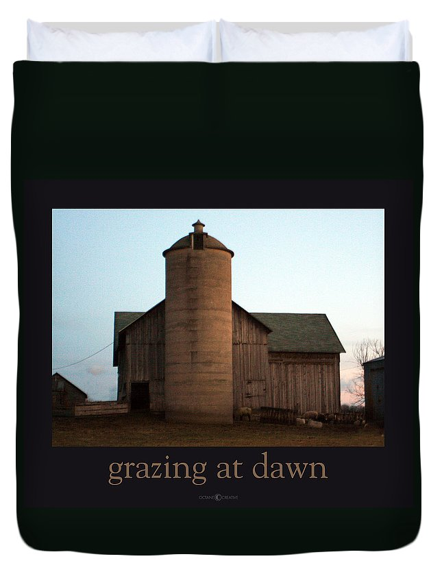 Barn Duvet Cover featuring the photograph Grazing At Dawn by Tim Nyberg