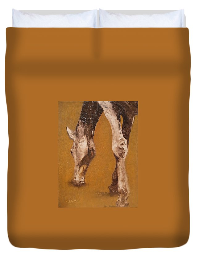 Animals Duvet Cover featuring the painting Grazing by Barbara Andolsek