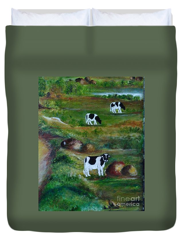 Cows. Duvet Cover featuring the painting Grazing Cows. by Shubhra Saha