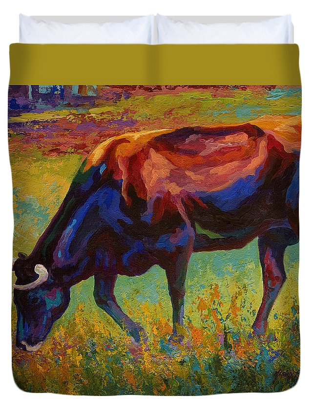 Longhorn Duvet Cover featuring the painting Grazing Texas Longhorn by Marion Rose