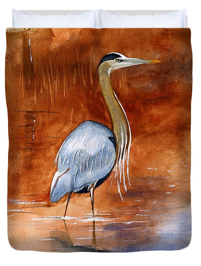 Great Duvet Cover featuring the painting Great Blue Heron by Brett Winn