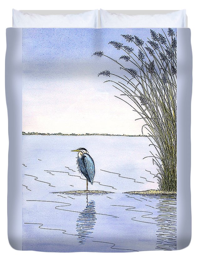 Great Blue Heron Duvet Cover featuring the painting Great Blue Heron by Charles Harden