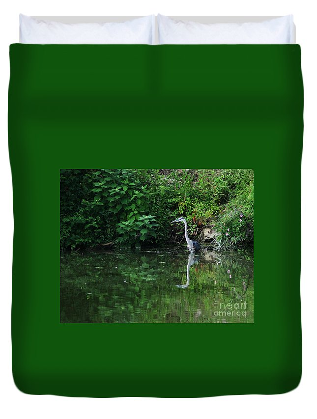 Lanscape Water Bird Crane Heron Blue Green Flowers Great Photograph Duvet Cover featuring the photograph Great Blue Heron Hunting Fish by Dawn Downour