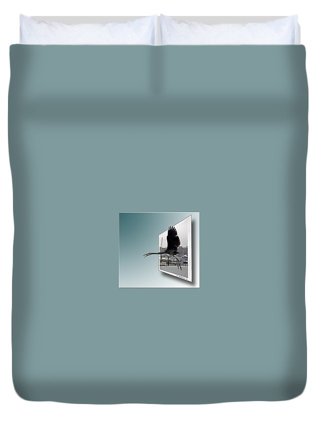 2d Duvet Cover featuring the photograph Great Blue Heron In Flight by Brian Wallace
