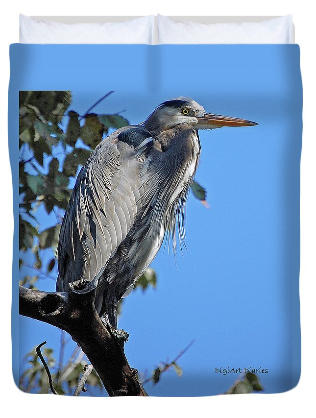 Heron Duvet Cover featuring the digital art Great Blue Heron Perched by DigiArt Diaries by Vicky B Fuller