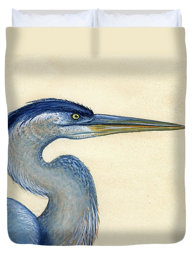 Great Duvet Cover featuring the painting Great Blue Heron Portrait by Charles Harden