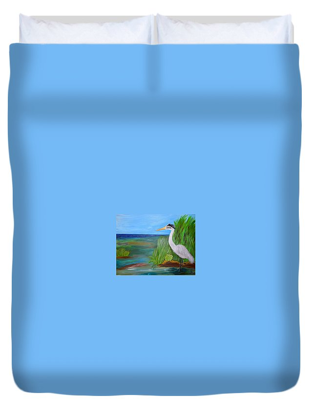 Wetlands Duvet Cover featuring the painting Great Blue Heron by Sherri McKendree