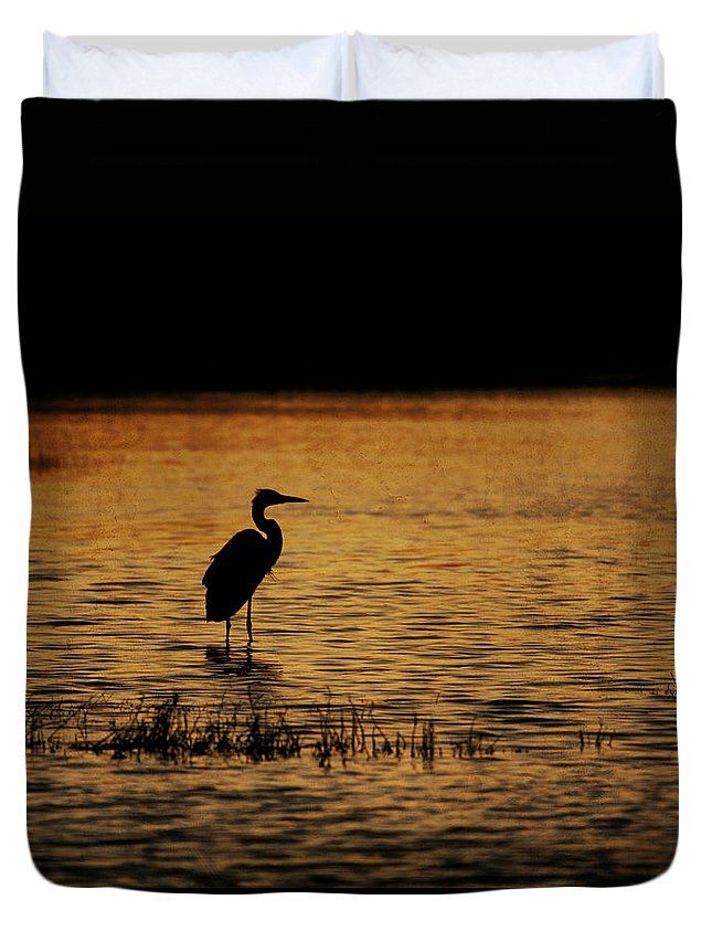 Bird Duvet Cover featuring the photograph Great Blue Heron Silohuette by Charles McKelroy