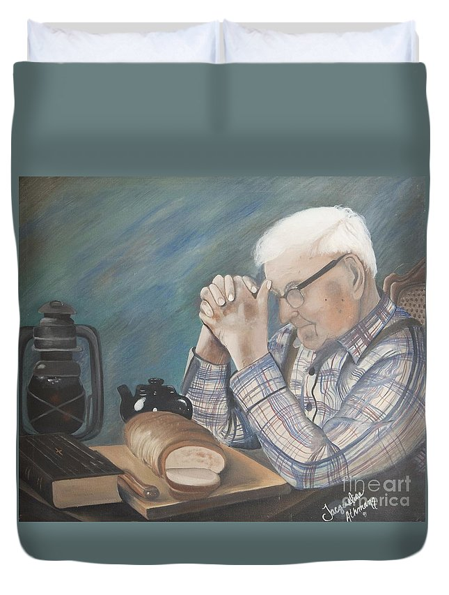Great Grandpa Duvet Cover featuring the painting Great Grandpa by Jacqueline Athmann