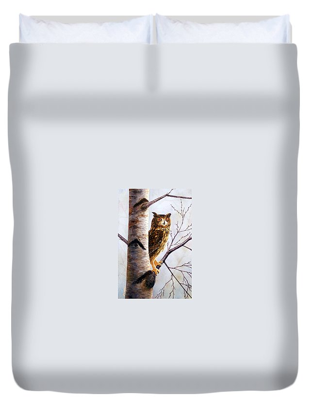 Great Horned Owl In Birch Duvet Cover featuring the painting Great Horned Owl In Birch by Frank Wilson