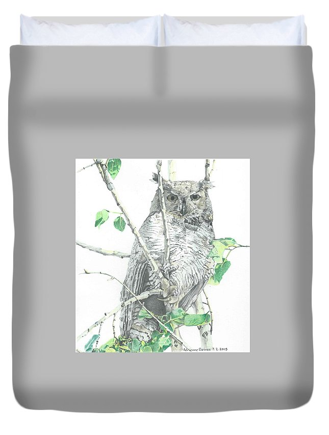 Great Horned Owl Duvet Cover featuring the drawing Great Horned Owl Perched In A Tree by Adrienne Deines