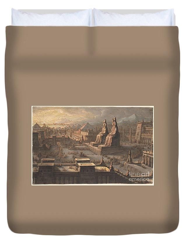 Antonio Basoli Duvet Cover featuring the painting Great Memnonian by Celestial Images