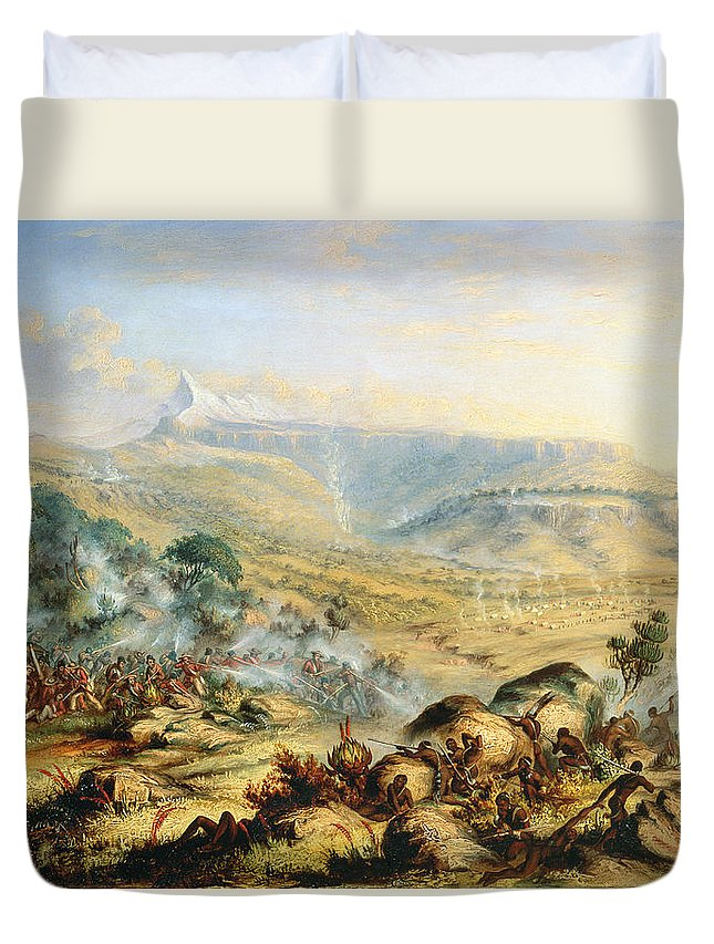 Battle; Africa; African; Africans; British; English; Fighting; Soldiers Duvet Cover featuring the painting Great Peak Of The Amatola-british-kaffraria by Thomas Baines