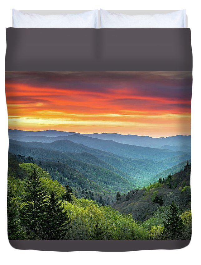 Great Smoky Mountains Duvet Cover featuring the photograph Great Smoky Mountains National Park Gatlinburg Tn Scenic Landscape by Dave Allen