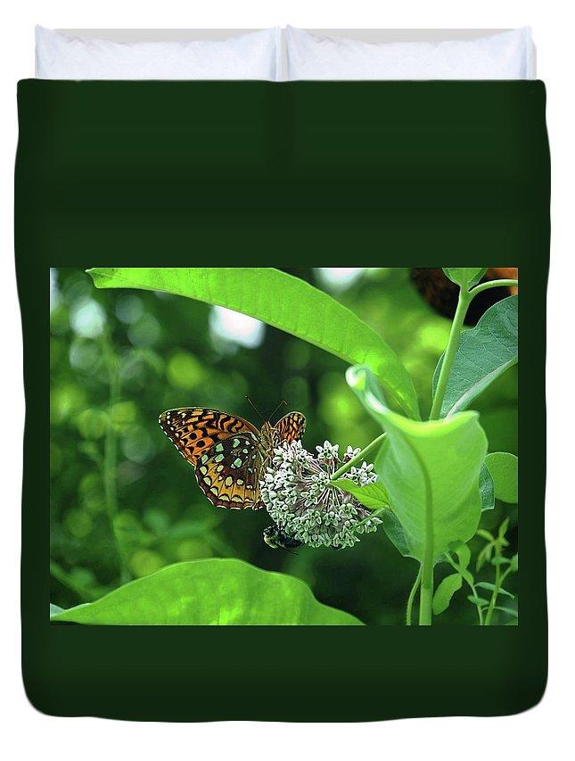 Great Spangled Fritillary Butterfly Duvet Cover featuring the photograph Great Spangled Fritillary by Ronda Ryan