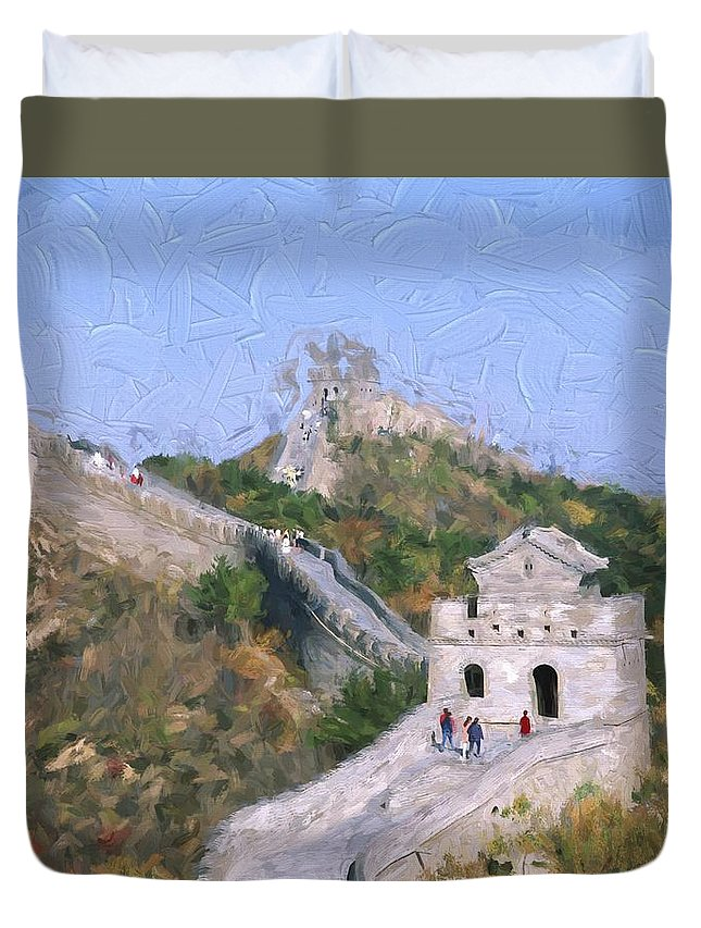 China Duvet Cover featuring the painting Great Wall At Badaling by Patrick Hoenderkamp