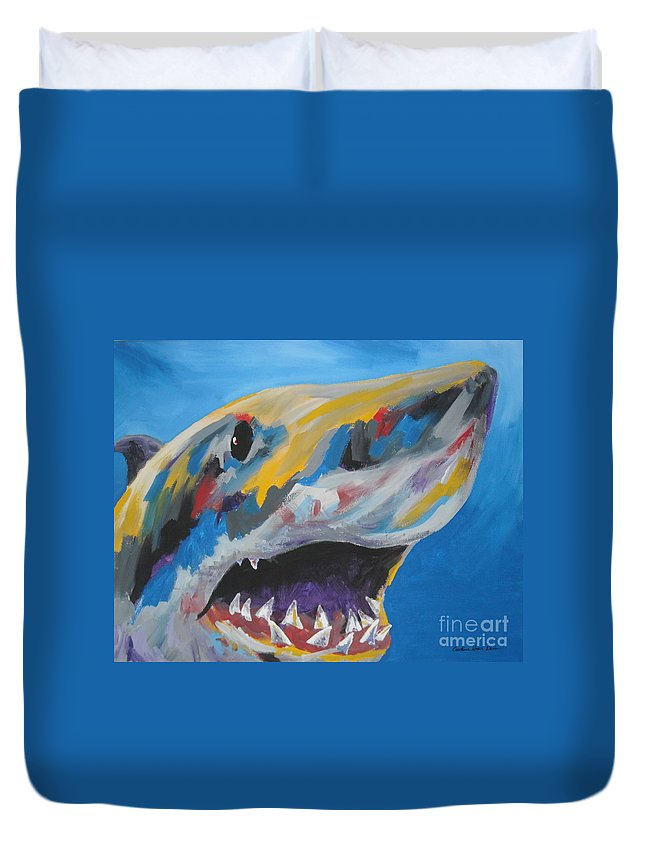 Shark Duvet Cover featuring the painting Great White by Caroline Davis