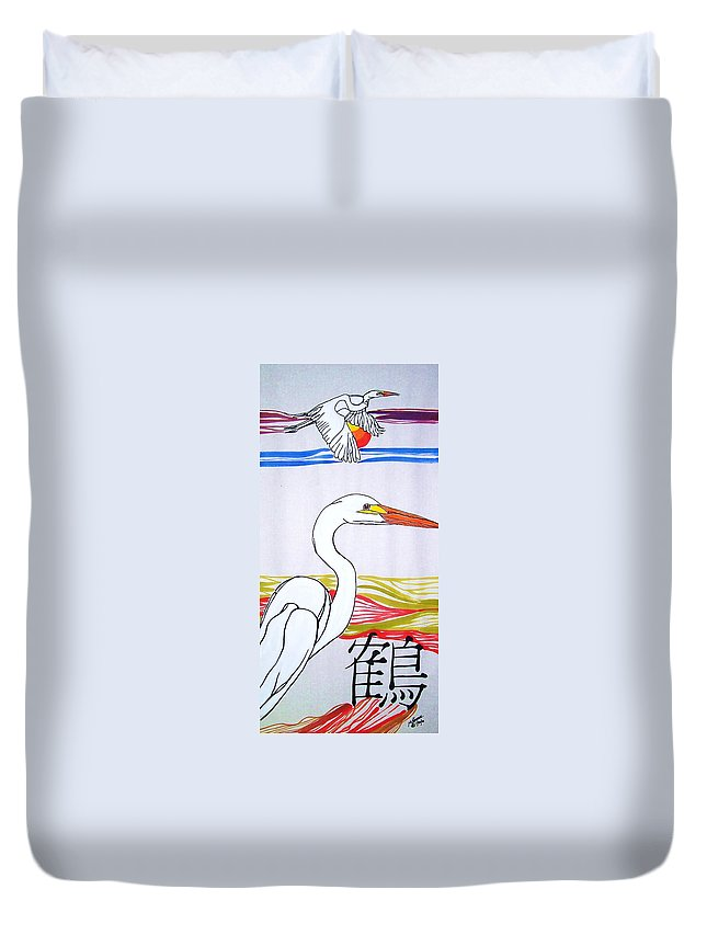 Acrylics Duvet Cover featuring the painting Great White Egret by Michael C Crane