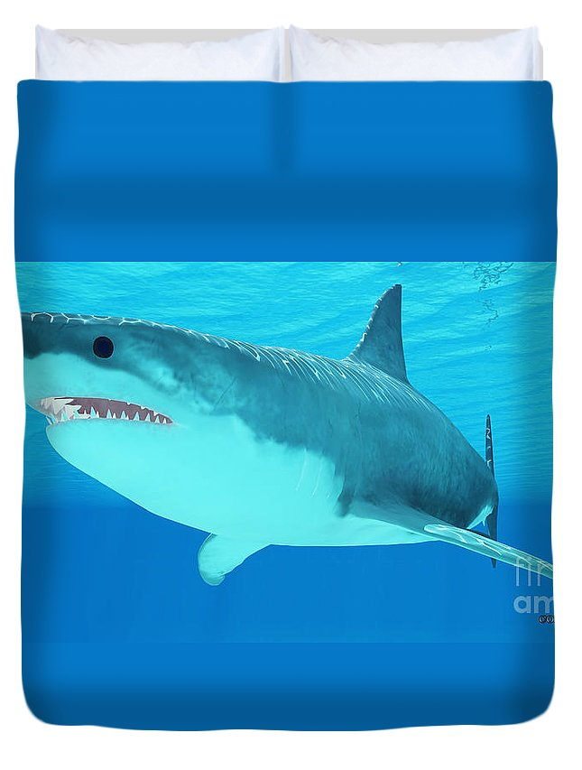 Great White Shark Duvet Cover featuring the painting Great White Shark Close-up by Corey Ford