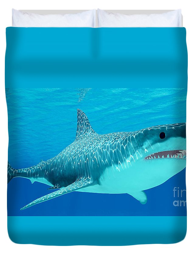 Great White Shark Duvet Cover featuring the painting Great White Shark Undersea by Corey Ford