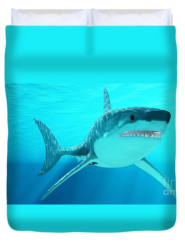 Great White Shark Duvet Cover featuring the painting Great White Shark With Sunrays by Corey Ford