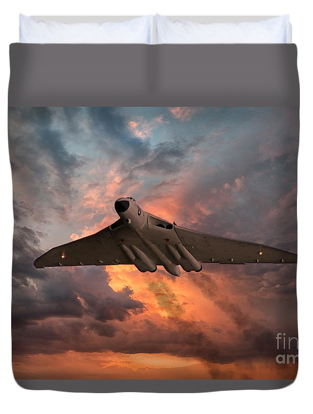 Avro Duvet Cover featuring the digital art Great White Vulcan by J Biggadike