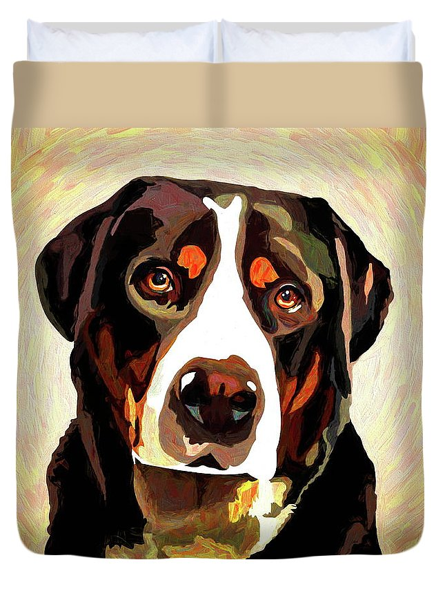 Greater Swiss Mountain Dog Duvet Cover featuring the mixed media Greater Swiss Mountain Dog by Alexey Bazhan