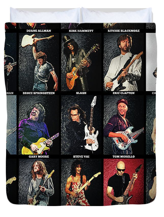 Guitar Duvet Cover featuring the digital art Greatest Guitarists Of All Time by Zapista OU
