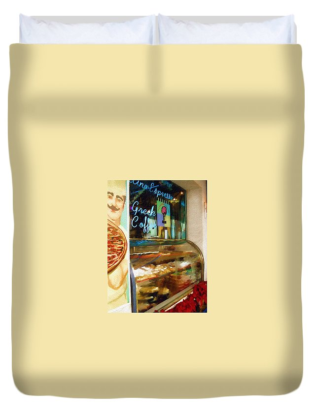 Greek Duvet Cover featuring the photograph Greek Coffee by Sandy MacGowan
