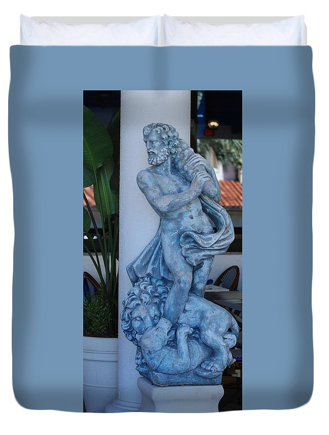 Statue Duvet Cover featuring the photograph Greek Dude And Lion In Blue by Rob Hans